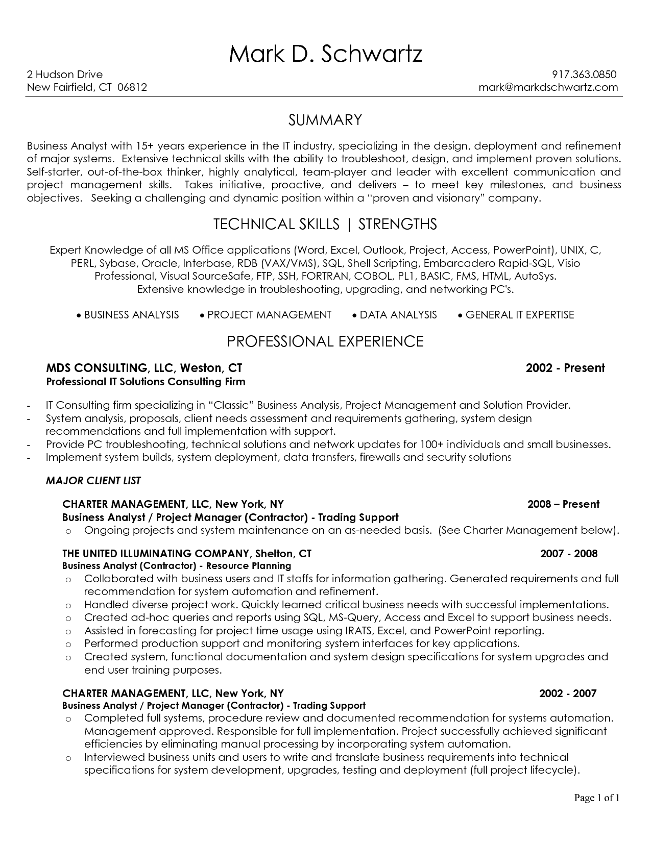 Business Analyst Resume Sample Best Template Junior Intended For