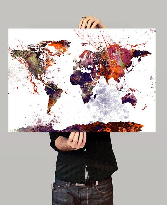 World map wall art world map poster large map watercolor world map wall art world map poster large map watercolor gumiabroncs Gallery