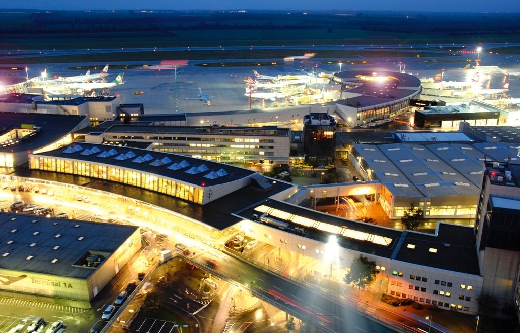 This is a picture of the Vienna airport. Austria has a lot