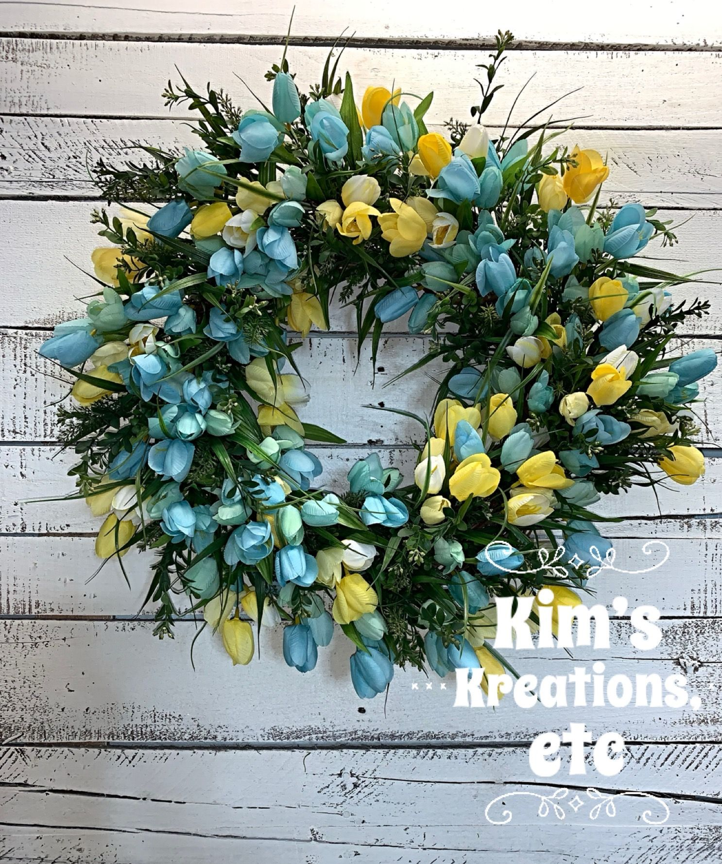 Spring Wreath Tulip Wreath Blue And Yellow Tulip Wreath Mini Tulips Tulip Wreath For Front Door Spring Tulip Wreath Tulips Summer Wreath Front Door Wrea In 2020 Wreaths For Sale Summer Wreath