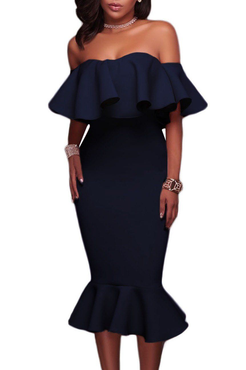 f7a9fc9c15e Navy Blue Ruffle Off The Shoulder Trumpet Midi Party Dress modeshe.com