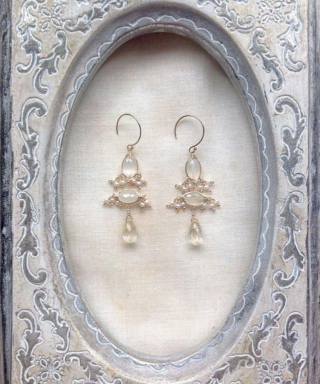 白  パール white pearl moonstone  ciocajewelry