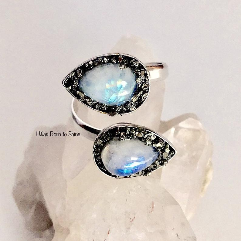 Moon Stone Ring in Silver Rose Gold Moonstone Hexagon Moonstone Ring Best Friend Ring 925 Sterling Silver Natural Rainbow Moonstone Ring
