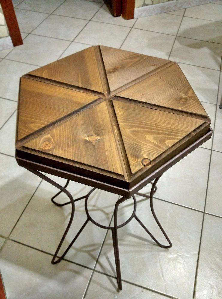 Tavolo tavolino in ferro battuto e legno da salotto soggiorno forma ...