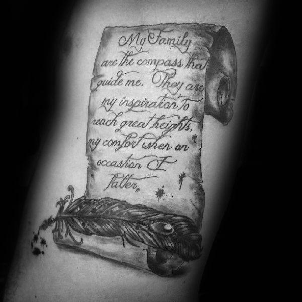 a88de072a 60 Scroll Tattoos For Men - Manly Paper Design Ideas   tattoos ...