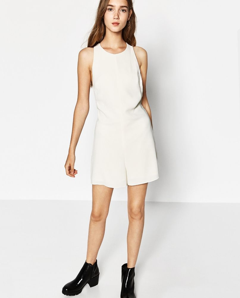 Zara Ivory Short Jumpsuit With Open Back Bloggers Ss 2017