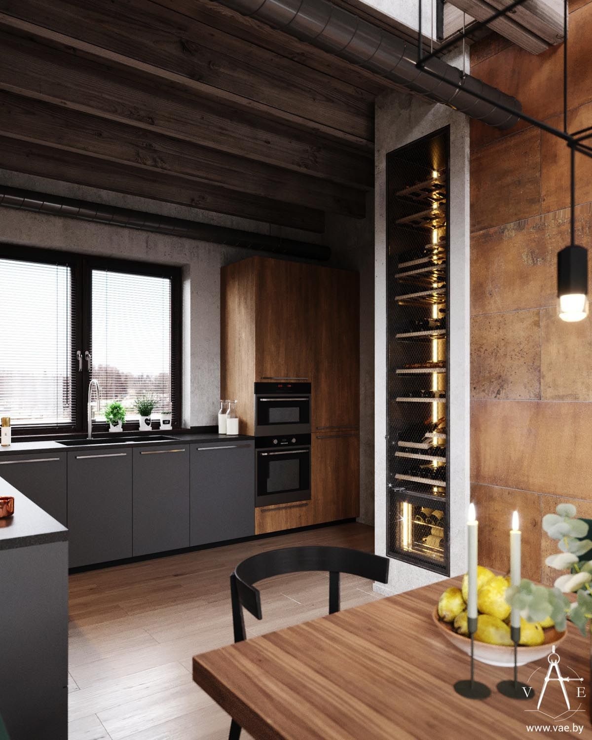 Warm Industrial Style House With Layout Industrial Style