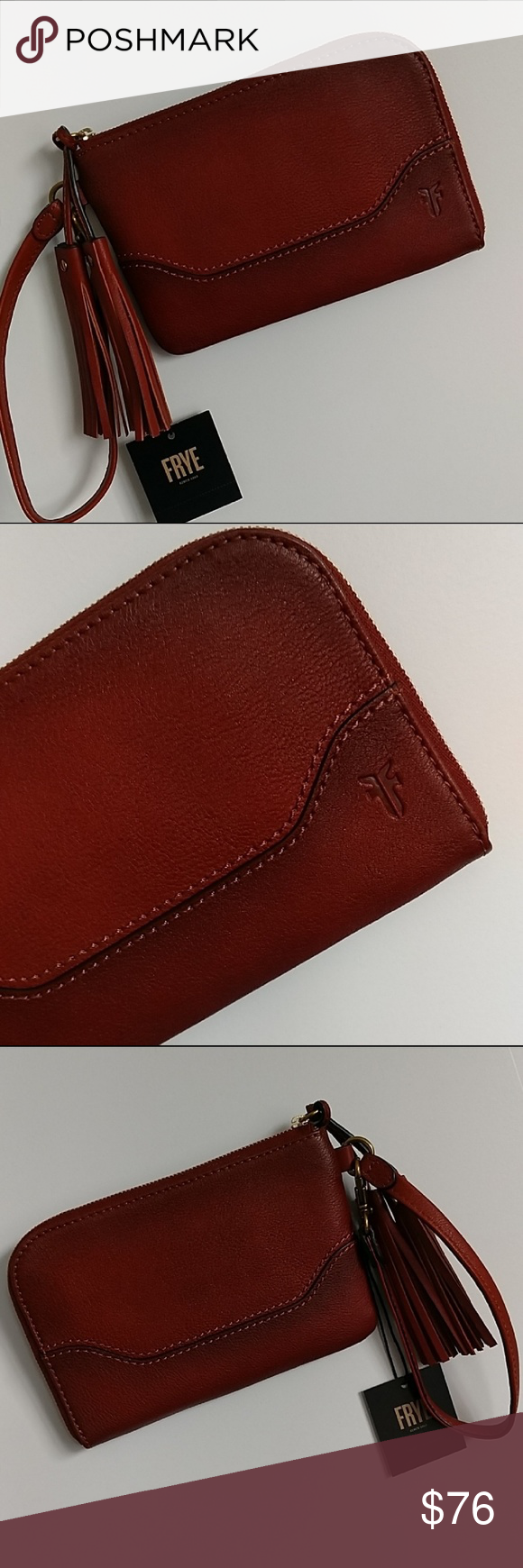 NWT! Frye Paige Cognac Leather Tassel Wristlet Exterior is crafted from a  tonal blend of 01e2717c168e2