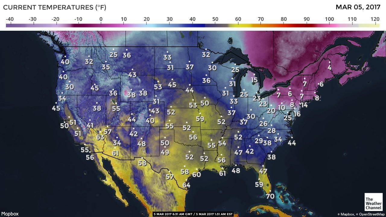 US Current Temperatures Map | MAPS | Map, The weather ...