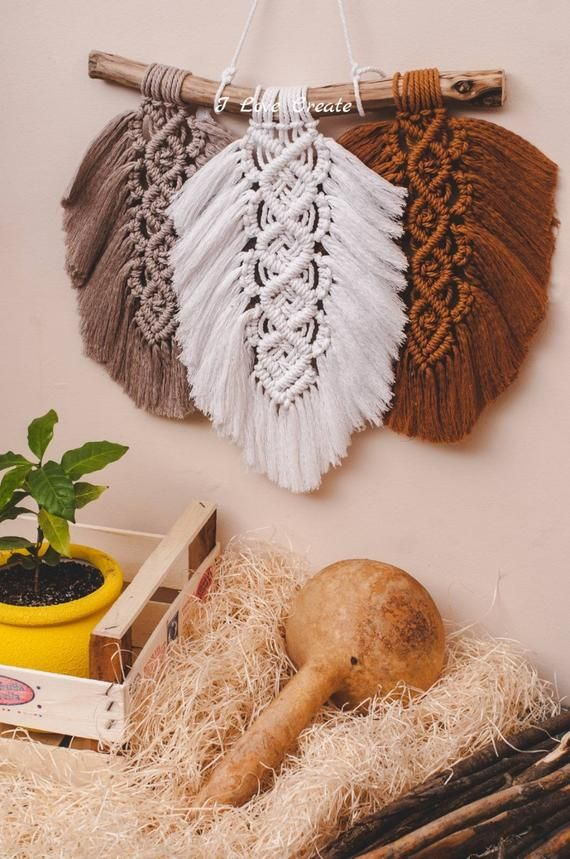 Photo of Feather Macrame Wall Hanging, Macrame Bohemian, Macrame Fiber Art, Terracota and Beige Home Decor, Wall Tapestry Macrame, Christmas gift