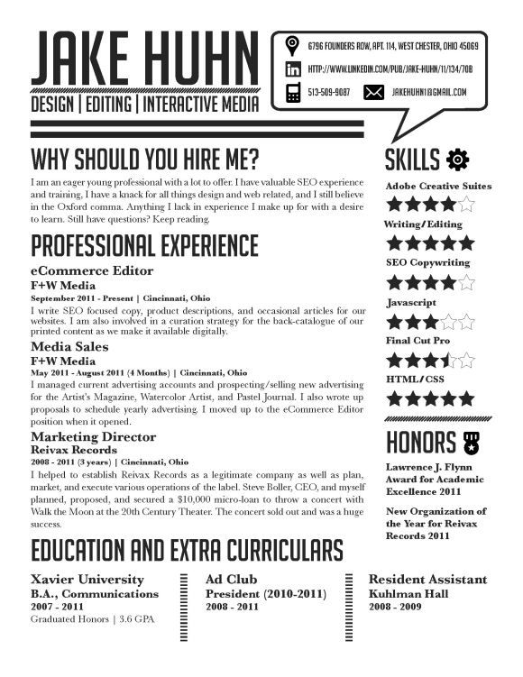 Graphic design resume example #webdesign via www