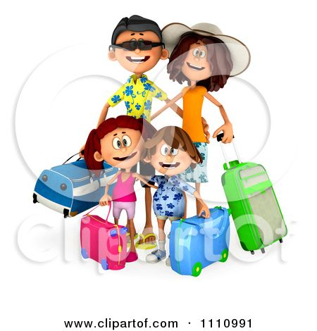 3d Happy Traveling Family Luggage Ready Summer Vacation Clipart