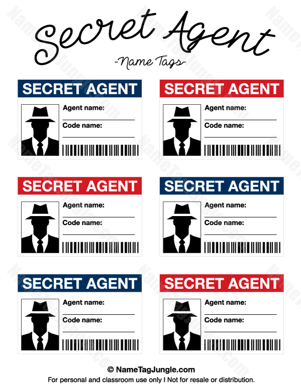 Free printable secret agent name tags these would be for Spy id card template