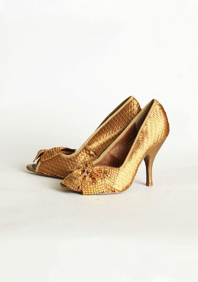 Spectacle Peep Toe Heels In Dark Gold
