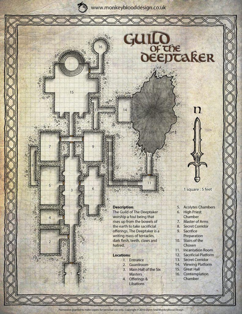 Guild Of The Deeptaker Color Labelled Version Dd Maps Map