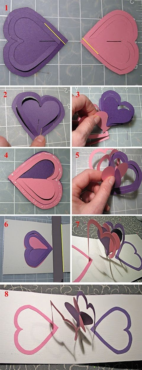 Idea for Valentines Day Double Heart Popup Card – How to Make a Valentine Pop Up Card