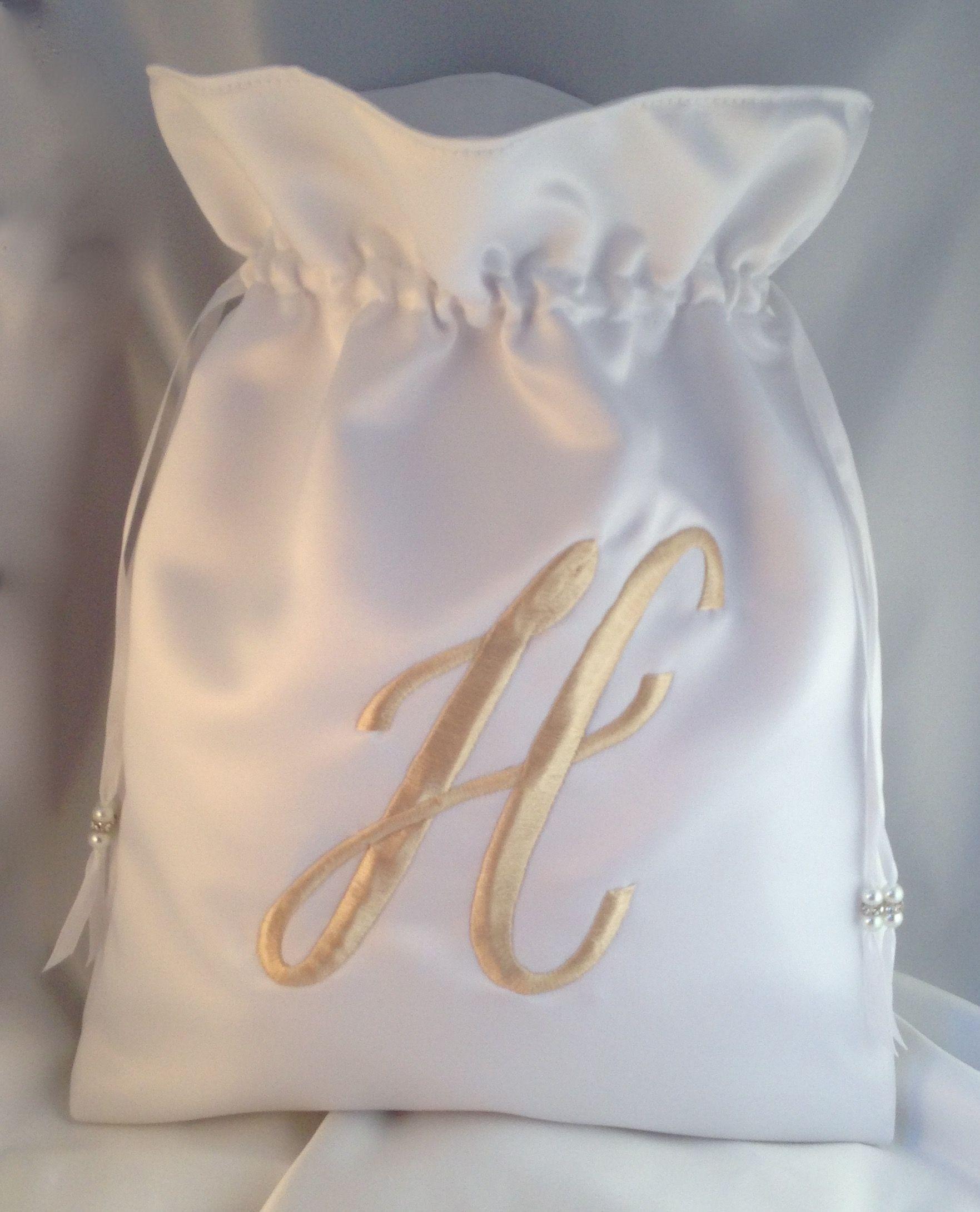 Beautiful White Satin Drawstring Wedding Bag With