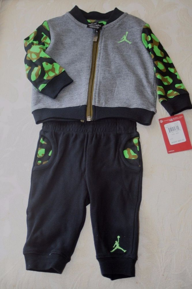 98312a8439c4  nike air jordan  baby infant   boys camo gray black jacket pants sweatsuit  set new from  25.99
