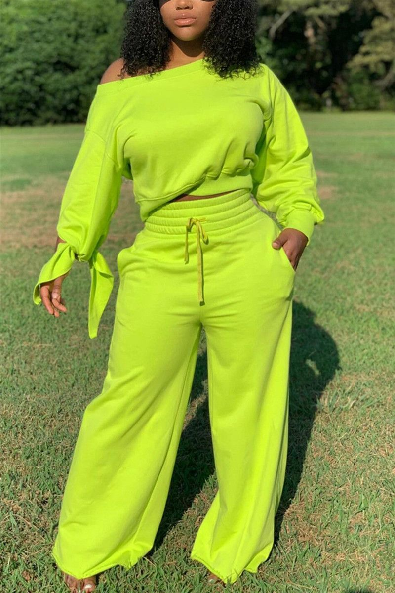 Fluorescent Green Fashion Casual Long Sleeve Obliq