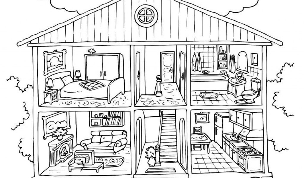 House Coloring Pages Inside Page Funny