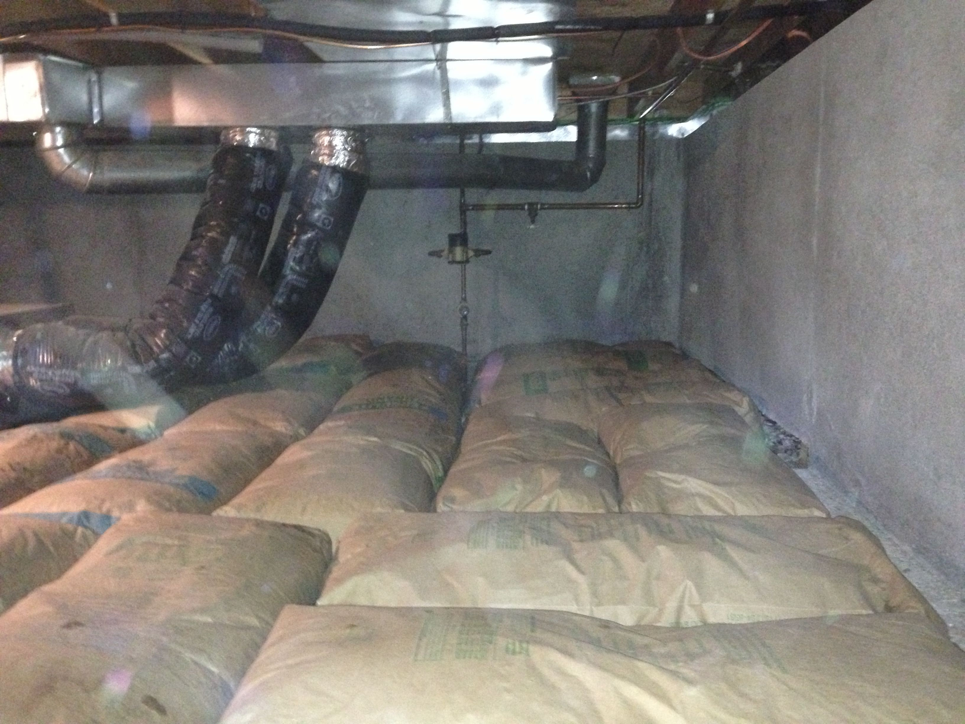 Insulation Crawl Space Bags Of Perlite Laid Out On Crawl