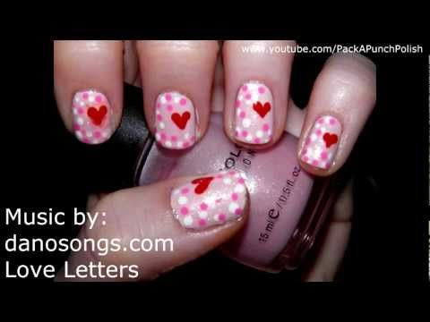 Pink Dots And A Heart Nail Art Tutorial - YouTube