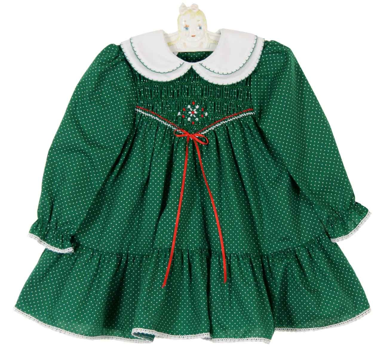 d1dcc59aec3c NEW Polly Flinders Green Dotted Smocked Dress with Double White Collar  $75.00 #PollyFlindersSmockedDresses #PollyFlindersChristmasDress