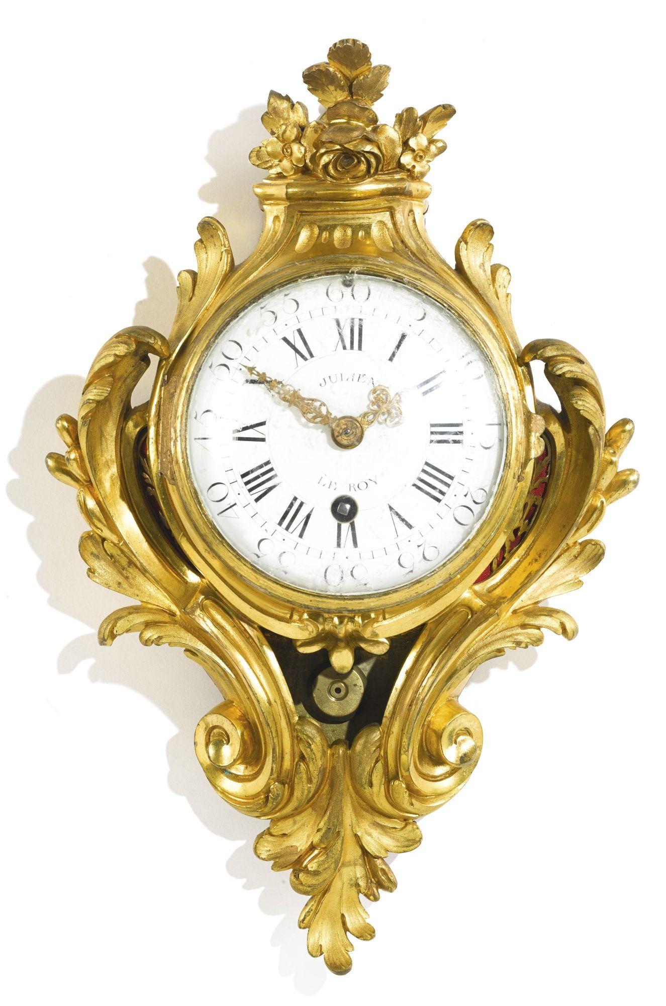 A louis xv ormolu cartel clock circa the dial signed julien le