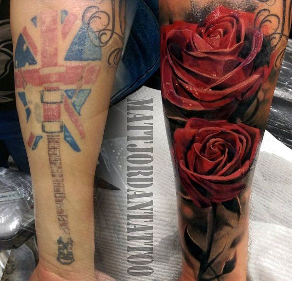 Rose cover up tattoo by Matt Jordan - One more way of making sure a tattoo