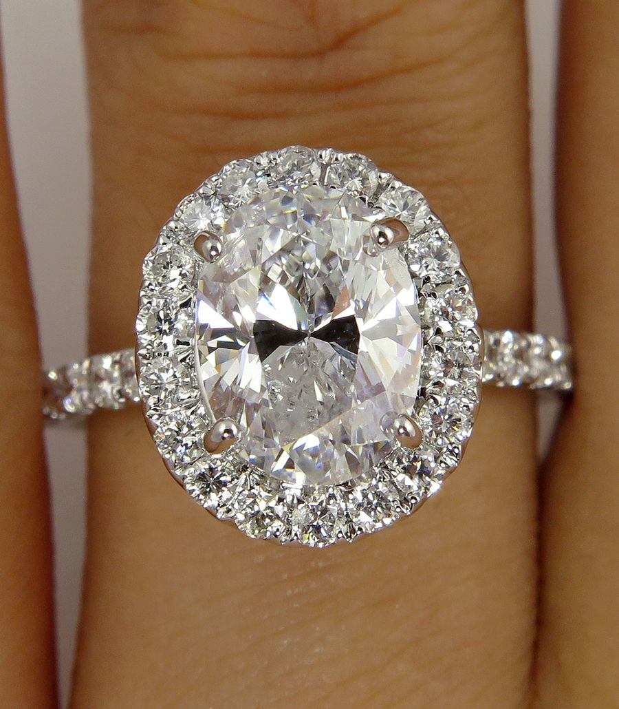 Estate Vintage 2.36ct Classic OVAL Cut Diamond Halo EGL USA Engagement Ring in 18k White Gold
