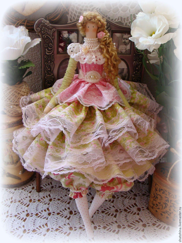 Купить Розовое лето- интерьерная текстильная куколка - кукла ручной работы, кукла в подарок