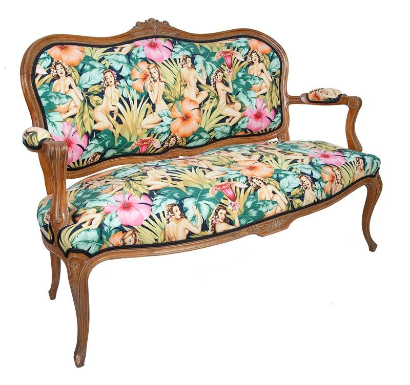 Sof luis xv estructura original con tapizado nuevo de - Tela tapiceria sofa ...