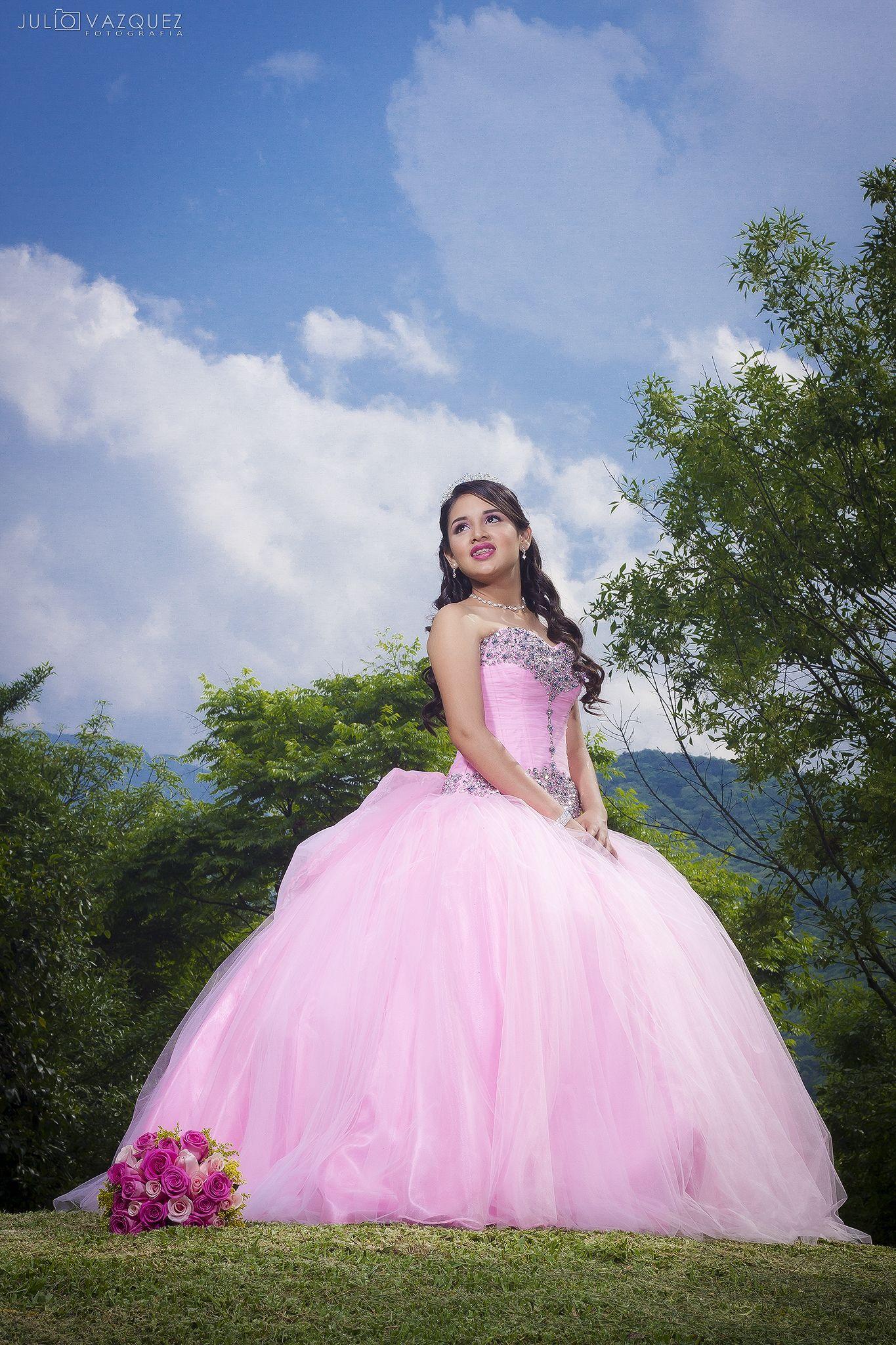 xv, quinceañera, sesión, formal, vestido, cielo azul, beautiful ...
