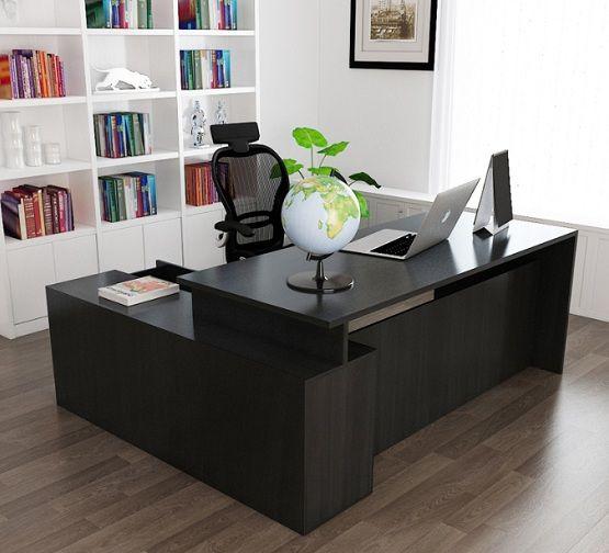 Black Large Computer Desk For Office Room Home Interiors Black Desk Office Black Desk Office Table Design