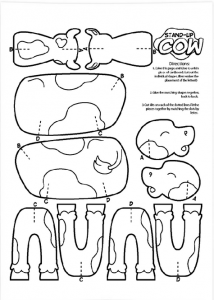 free printable coloring sheets color and cut out stand up cow
