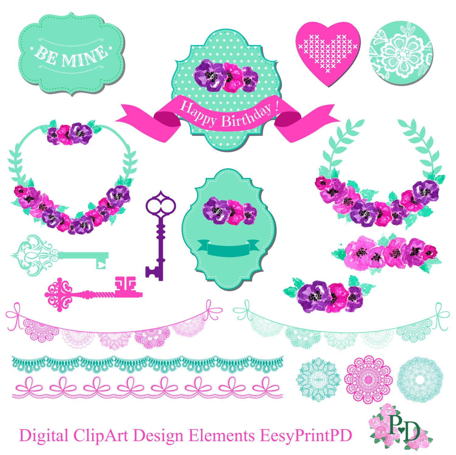 Digital ClipArt lace wreath ribbon tag banners PNG by easyprintPD ...