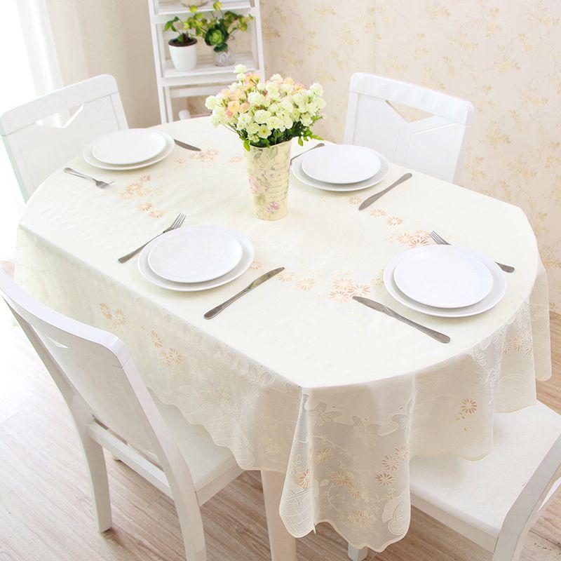Telescopic Folding Table Oval Pvc Table Cloth Waterproof Anti Oil