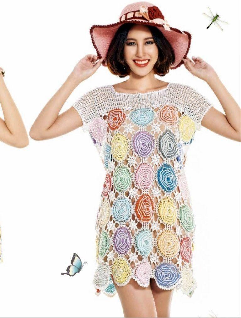Vestido Circulos de Flores Patron - Patrones Crochet | Blusas ...
