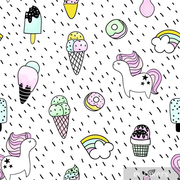 Creative Seamless Pattern With Unicorn Donut Ice Cream Rainbow