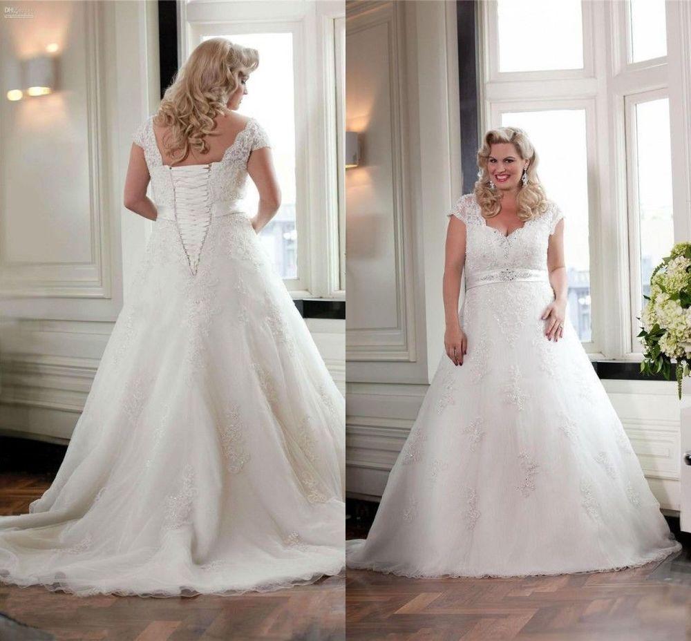 Übergröße Weiß Brautkleid Abendkleid Vintage Spitze Perlen Tüll ...