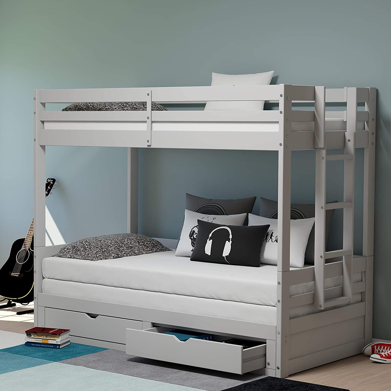 Alaterre Furniture Jasper Twin To King Extending Day Bed With Bunk Bed And Storage Drawers Dove Gray Home In 2020 Bed Storage Drawers Bunk Beds Junior Loft Beds