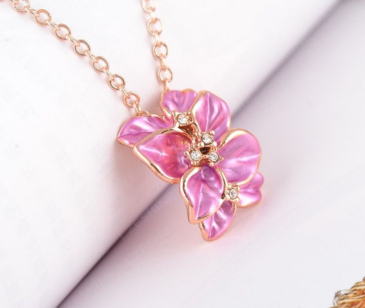 LZESHINE Newest Pendants & Necklaces 18K Rose Gold Plated with Austrian Cystals Flower Shape Enamel Necklace for Women…