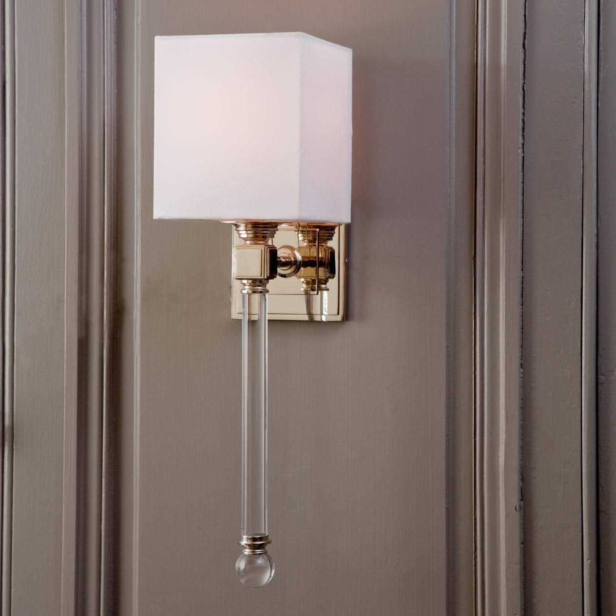 Chic sophisticate crystal torch wall sconce torches wall sconces chic sophisticate crystal torch wall sconcecrisp white cube shade towering crystal rod with clear ball finial and shiny nickel square fittings give this aloadofball Gallery