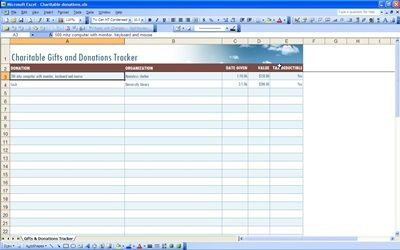 Charitable Donation Tracking Spreadsheet Business Templates