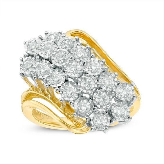 Zales 1/10 CT. T.w. Diamond Five Stone Beaded Wave Ring in Sterling Silver with 14K Gold Plate DuzI0d09