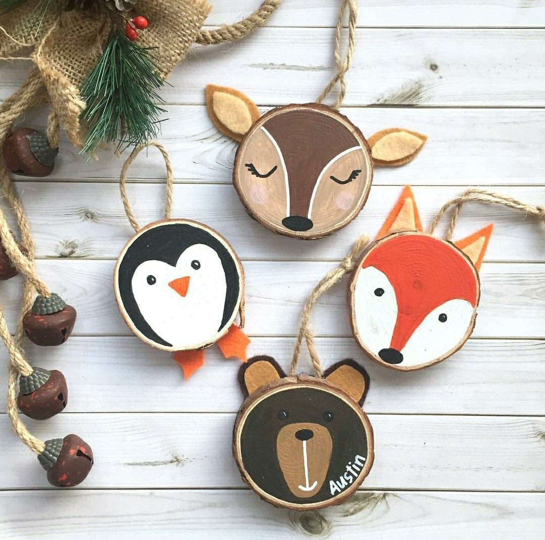 Hand Painted Wood Slice Christmas Ornaments Christmas Ornaments Christmas Wood Wood Slice Ornament