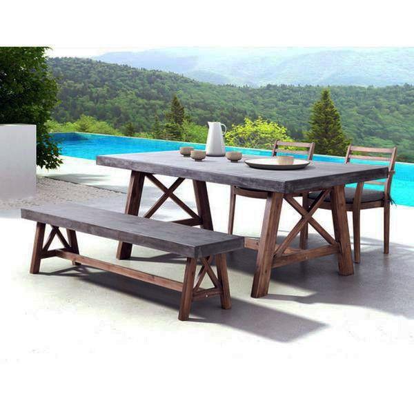 industrial outdoor 4 piece dining set cement wood dining set rh pinterest com industrial outdoor patio furniture industrial outdoor furniture melbourne