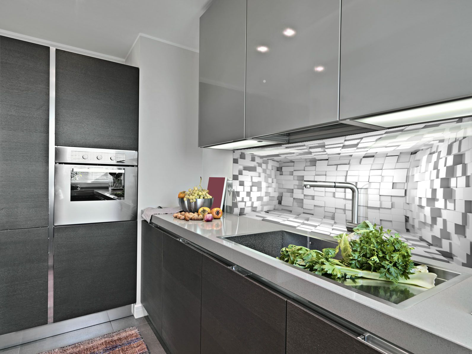 Decorating The Walls In The Kitchen Instead Of Plates Glass With Your Graphics The Effect Of Depth Kitchen Fittings Grey Kitchen Cupboards Grey Kitchens