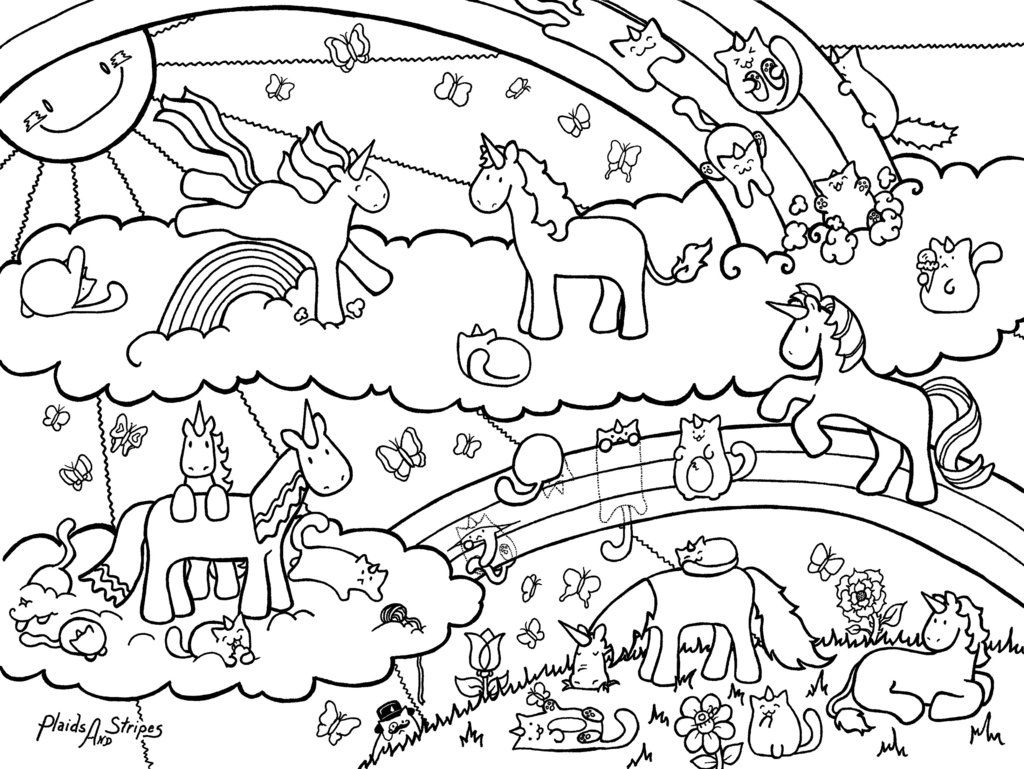 Unicorn and Caticorn Coloring Page by plaidsandstripesdeviantart