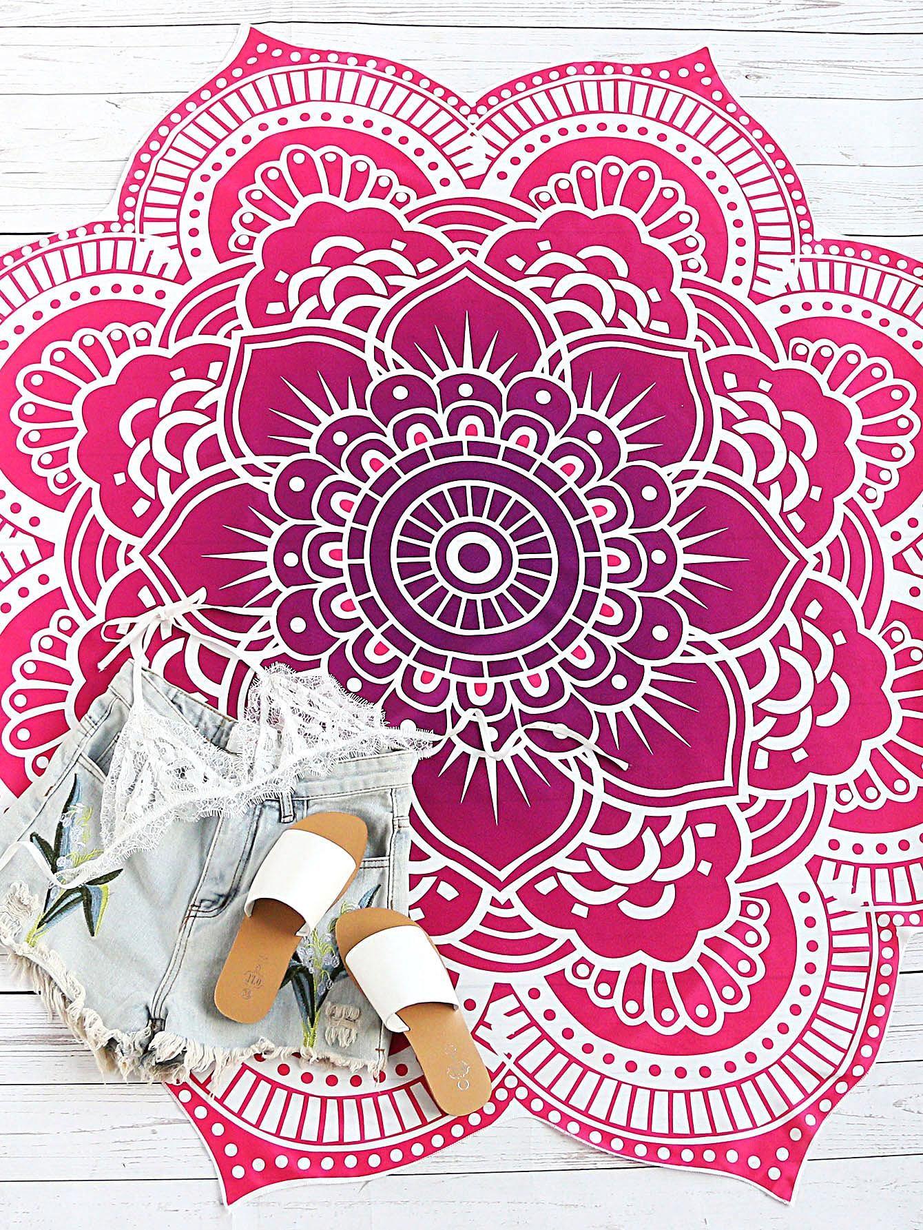 MakeMeChic - MAKEMECHIC Red Lotus Print Flower Shape Beach Blanket - AdoreWe.com